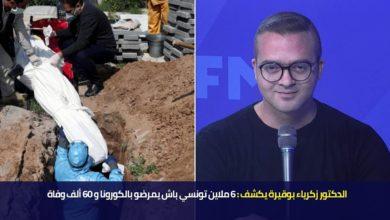 الدكتور زكرياء بوقيرة يكشف 6 ملاين تونسي باش يمرضو بالكورونا و 60 ألف وفاة